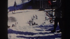 1962: skier going down a jump slope NEW YORK Stock Footage