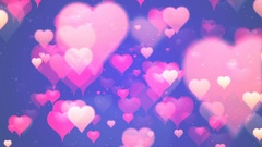 Valentine's day background, flying abstract hearts and particles Stock Footage