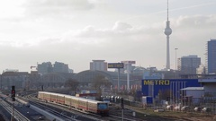 Sbahn train passes, skyline of the city of Berlin, TV tower, Germany Stock Footage