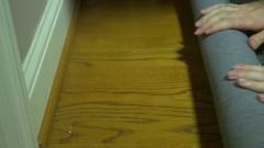 Installing shag carpet instal Stock Footage