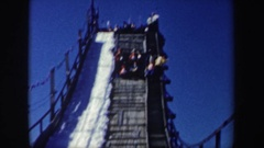 1962: ski jump with audience awaiting a skier NEW YORK Stock Footage