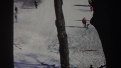 1962: guy jumps on skis and falls NEW YORK Stock Footage