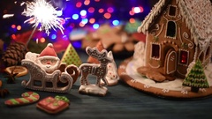 Gingerbread house with lights Stock Footage