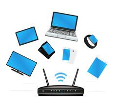 Smart device connecte with router Stock Illustration