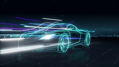 Automobile Technology. running car with line. 360 X-ray view. Stock Footage