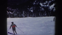 1962: several people skiing down the slope of a mountain VERMONT Stock Footage