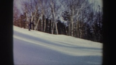 1962: man skiing on the snow, floating like a breeze and enjoying his move. Stock Footage