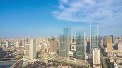 Chengdu spring city road business district time-lapse photography Stock Footage