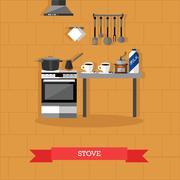 Vector illustration of stove and kitchen utensils in flat style Stock Illustration