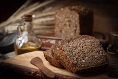 Wholemeal bread with sunflower seeds. Stock Photos