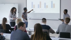 Multi-ethnic students presenting a project in front of the classroom Stock Footage