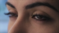 ECU Woman blinking, view of eyes Stock Footage