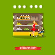 Vector illustration of supermarket interior, grocery store in flat style Piirros