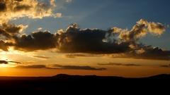 Panning shot of Beautiful sunset, view at Khao Kho, Phetchabun, Thailand Stock Footage