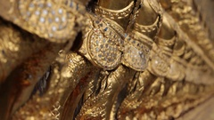 CU TU Row of gold statues / Grand Palace, Bangkok, Thailand Stock Footage