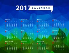 Simple calendar for 2017 year. Week starts from sunday Stock Illustration