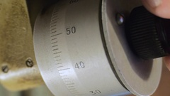 Mechanical dial micrometer. Close-up. Stock Footage