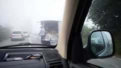 Trailer truck overturned on the road Stock Footage