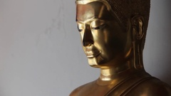 CU TD Golden Buddha statues / Wat Pho, Bangkok, Thailand Stock Footage