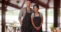 Portrait of African American man and woman small business owners Arkistovideo