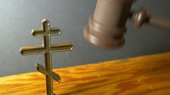 Gavel orthodox christian judge judgement Stock Footage