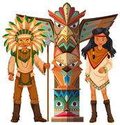Native american indians and totem pole Stock Illustration
