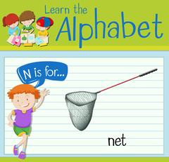 Flashcard letter N is for net Stock Illustration