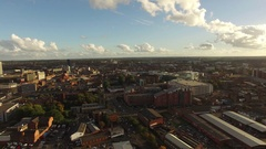 Gloucester City Aerial Panning shot Stock Footage