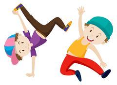 Two boys doing breakdance Stock Illustration