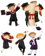People in graduation gown Stock Illustration