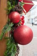 Christmas decoration with red balls Stock Photos
