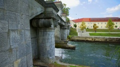 Rapids under floodgate on the river Ljubljanica Stock Footage