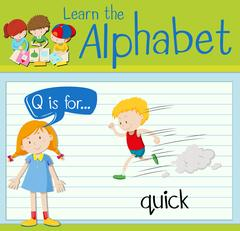 Flashcard letter Q is for quick Stock Illustration
