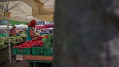 Greengrocer and a customer Stock Footage