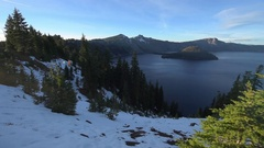 Crater Lake National Park Oregon slow dolly shot Stock Footage