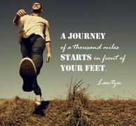 A journey of a thousand miles must begin with a single step. Lao Tzu Stock Photos