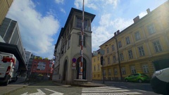 Peglezen Buidling on a sunny day in Ljubljana city center Stock Footage