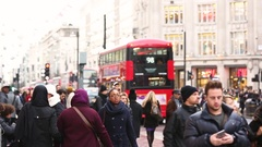 London, people and traffic on Oxford street, speed up video Stock Footage