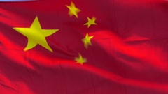 Chinese flag fluttering in the breeze Stock Footage