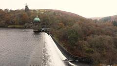 Pen y Garreg dam in Elan Valley, Wales, UK Stock Footage