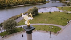 Double-headed eagle on the monument in Yaroslavl Russia, aerial shot Stock Footage