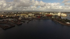 Cardiff Bay Water Front Aerial View Stock Footage