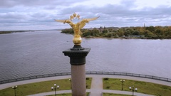 Double-headed eagle on the monument in Yaroslavl Russia, aerial Stock Footage