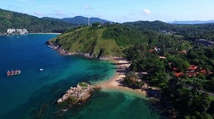 Aerial: Landing on Yanui beach. Stock Footage