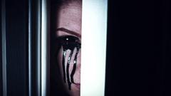 4K Thriller Woman Eye Opening and Looking in Door Gap Stock Footage