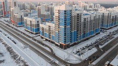Sunset, night and sunrise in a residential area. Academic, Ekaterinburg, Russia Stock Footage