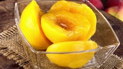 Preserved Peaches (not loopable; 4K) Stock Footage