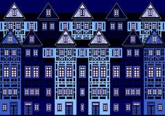 Abstract Historic District Stock Illustration