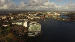 Cardiff City Bay Wide Aerial shot Stock Footage