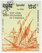 Ship Nina, 1st expedition of Columbus (1492) Stock Photos